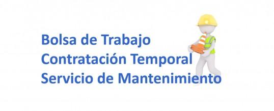 Bolsa de trabajo para contratos temporales en el servicio de Mantenimiento.