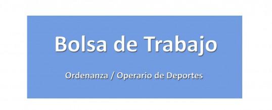 Bolsa de trabajo para contratos temporales de Ordenanza / Operario de deportes